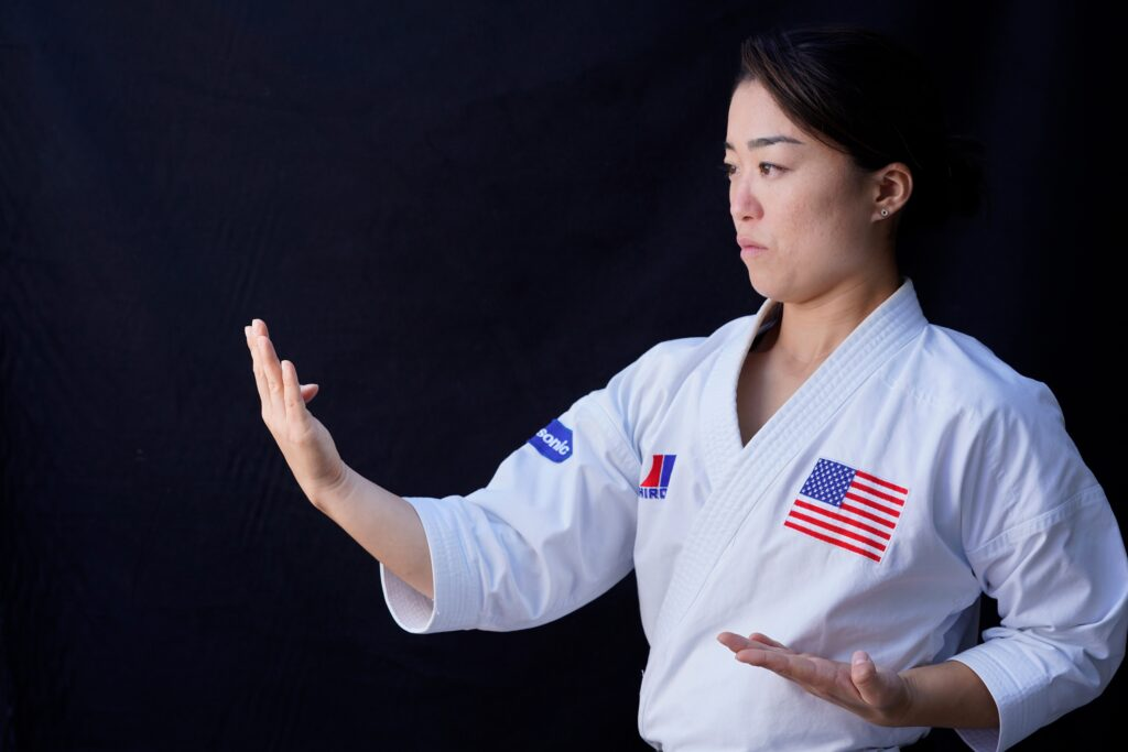 Jul 1, 2021; Orange, CA, USA; Portrait of karate athlete Sakura Kokumai who will compete for the United States during the Olympics in Tokyo. Kokumai will compete in the kata discipline as karate makes it debut as an Olympic sport. Mandatory Credit: Robert Hanashiro/USA TODAY NETWORK