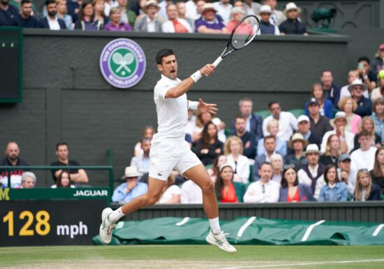Jul 9, 2021; London, United Kingdom; Novak Djokovic (SRB) seen playing against Denis Shapovalov (CAN) in the men's semi final match at All England Lawn Tennis and Croquet Club. Mandatory Credit: Peter van den Berg-USA TODAY Sports