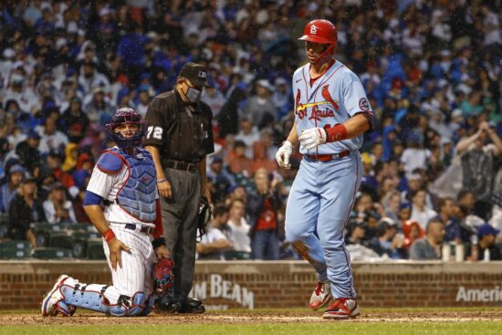 Jul 10, 2021; Chicago, Illinois, USA; St. Louis Cardinals first baseman Paul Goldschmidt (46) crosses home plate after hitting a solo home run against the Chicago Cubs during the fifth inning at Wrigley Field. Mandatory Credit: Kamil Krzaczynski-USA TODAY Sports
