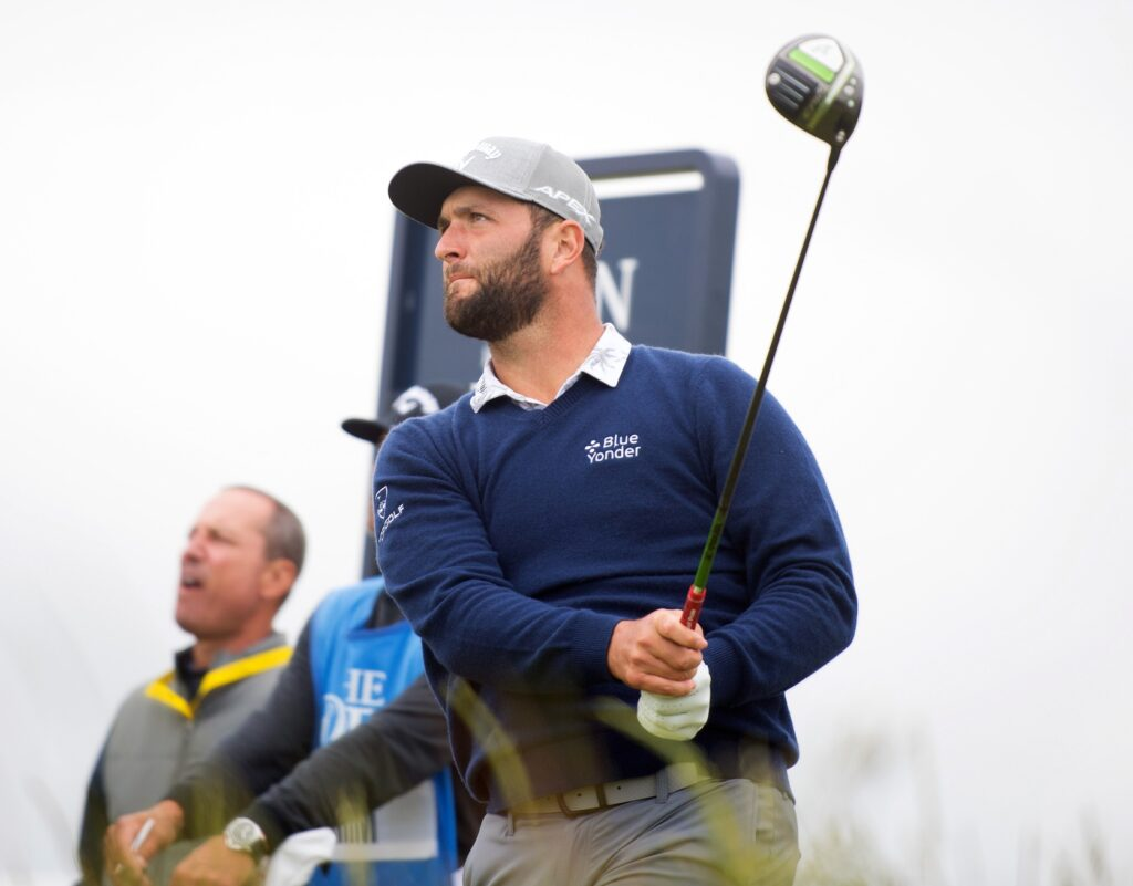 Jul 14, 2021; Sandwich, England, GBR; Jon Rahm plays his shot from the tenth tee during a practice round for the Open Championship golf tournament at Royal St. George's Golf Course. Mandatory Credit: Sandra Mailer-USA TODAY Sports