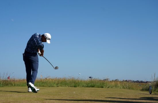 Jul 18, 2021; Sandwich, England, GBR; Collin Morikawa plays his shot from the tenth tee during the final round of the Open Championship golf tournament. Mandatory Credit: Peter van den Berg-USA TODAY Sports