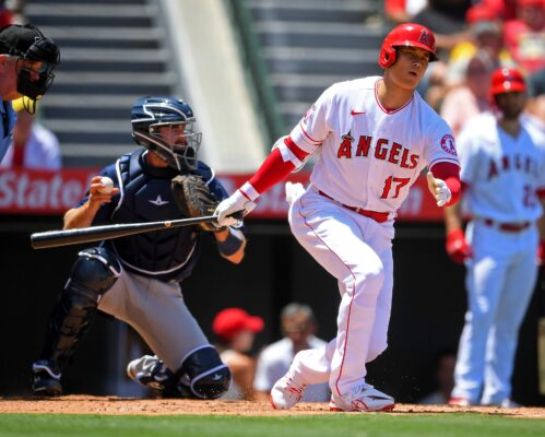 Jul 18, 2021; Anaheim, California, USA; Los Angeles Angels designated hitter Shohei Ohtani (17) strikes out in the first inning against the Seattle Mariners at Angel Stadium. Mandatory Credit: Jayne Kamin-Oncea-USA TODAY Sports