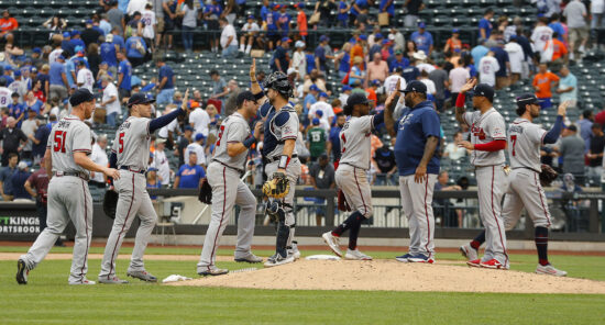 Jul 29, 2021; New York City, New York, USA; The Atlanta Braves react after defeating the New York Mets at Citi Field. Mandatory Credit: Andy Marlin-USA TODAY Sports