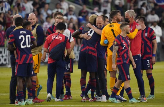 Jul 29, 2021; Austin, Texas, USA; United States players celebrate after victory over Qatar in a Concacaf Gold Cup semifinal soccer match at Q2 Stadium. Mandatory Credit: Scott Wachter-USA TODAY Sports