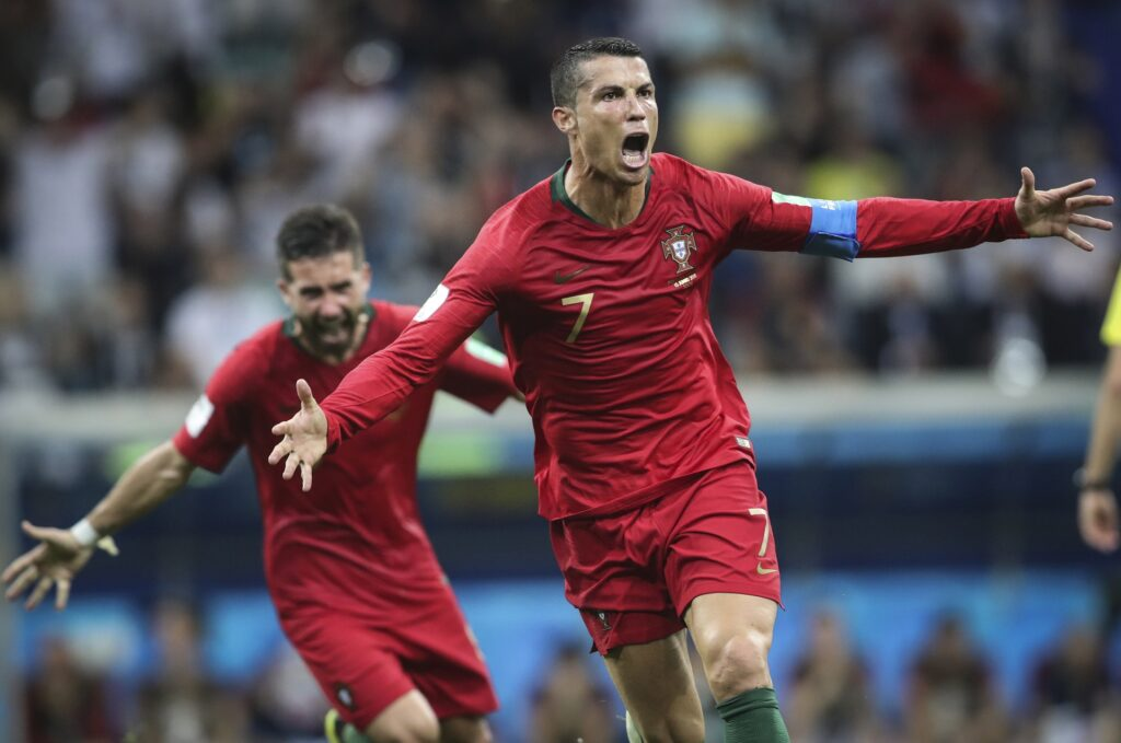 Jun 15, 2018; Sochi, Russia; Portugal forward Cristiano Ronaldo (7) celebrates after scoring a goal against Spain in Group B play during the FIFA World Cup 2018 at Fisht Stadium. Mandatory Credit: Leonel de Castro/Global Images/Sipa USA via USA TODAY Sports