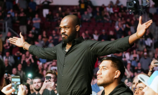 Feb 15, 2020; Rio Rancho, New Mexico, USA; UFC fighter Jon Jones attends the light heavyweight bout between Jan Blachowicz (blue) and Corey Anderson (red) during UFC Fight Night at Santa Ana Star Arena. Mandatory Credit: Kirby Lee-USA TODAY Sports