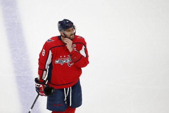 May 23, 2021; Washington, District of Columbia, USA; Washington Capitals left wing Alex Ovechkin (8) looks on from the ice during a stoppage in play in the first period against the Boston Bruins in game five of the first round of the 2021 Stanley Cup Playoffs at Capital One Arena. Mandatory Credit: Amber Searls-USA TODAY Sports