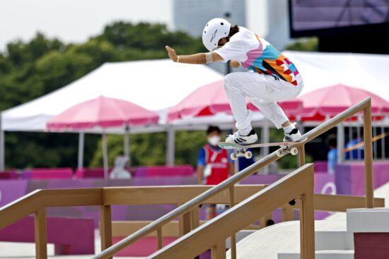 Jul 26, 2021; Tokyo, Japan; Momiji Nishiya (JPN) competes in the womens street skateboard during the Tokyo 2020 Olympic Summer Games at Ariake Urban Sports Park. Mandatory Credit: Geoff Burke-USA TODAY Sports