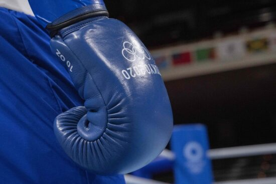Aug 1, 2021; Tokyo, Japan; Detail of the glove of Duke Ragan (USA) in the men's feather (52-57kg) boxing during the Tokyo 2020 Olympic Summer Games at Kokugikan Arena. Mandatory Credit: Andrew P. Scott-USA TODAY Sports