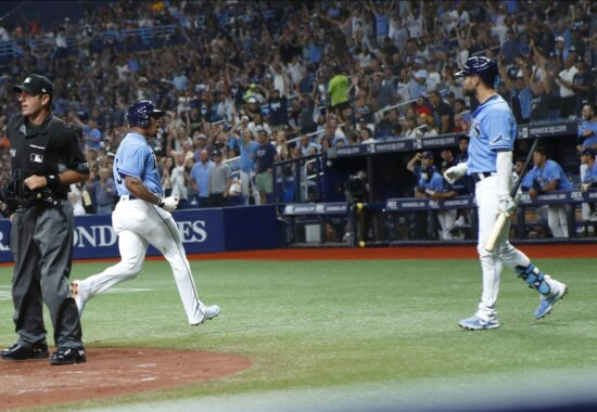 Aug 1, 2021; St. Petersburg, Florida, USA; Tampa Bay Rays shortstop Wander Franco (5) reacts after scoring a run during the fifth inning against the Boston Red Sox at Tropicana Field. Mandatory Credit: Kim Klement-USA TODAY Sports