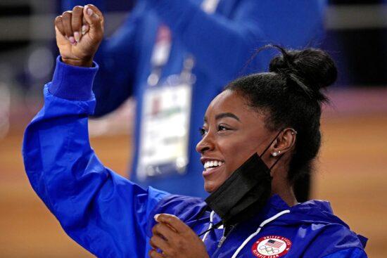 Aug 2, 2021; Tokyo, Japan; Simone Biles cheers during the Tokyo 2020 Olympic Summer Games at Ariake Gymnastics Centre. Mandatory Credit: Danielle Parhizkaran-USA TODAY Sports