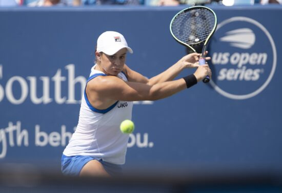 Aug 22, 2021; Mason, OH, USA; Ashleigh Barty (AUS) returns a shot during her match against  Jil Teichmann (SUI not pictured) during the Western and Southern Open final at the Lindner Family Tennis Center. Mandatory Credit: Susan Mullane-USA TODAY Sports