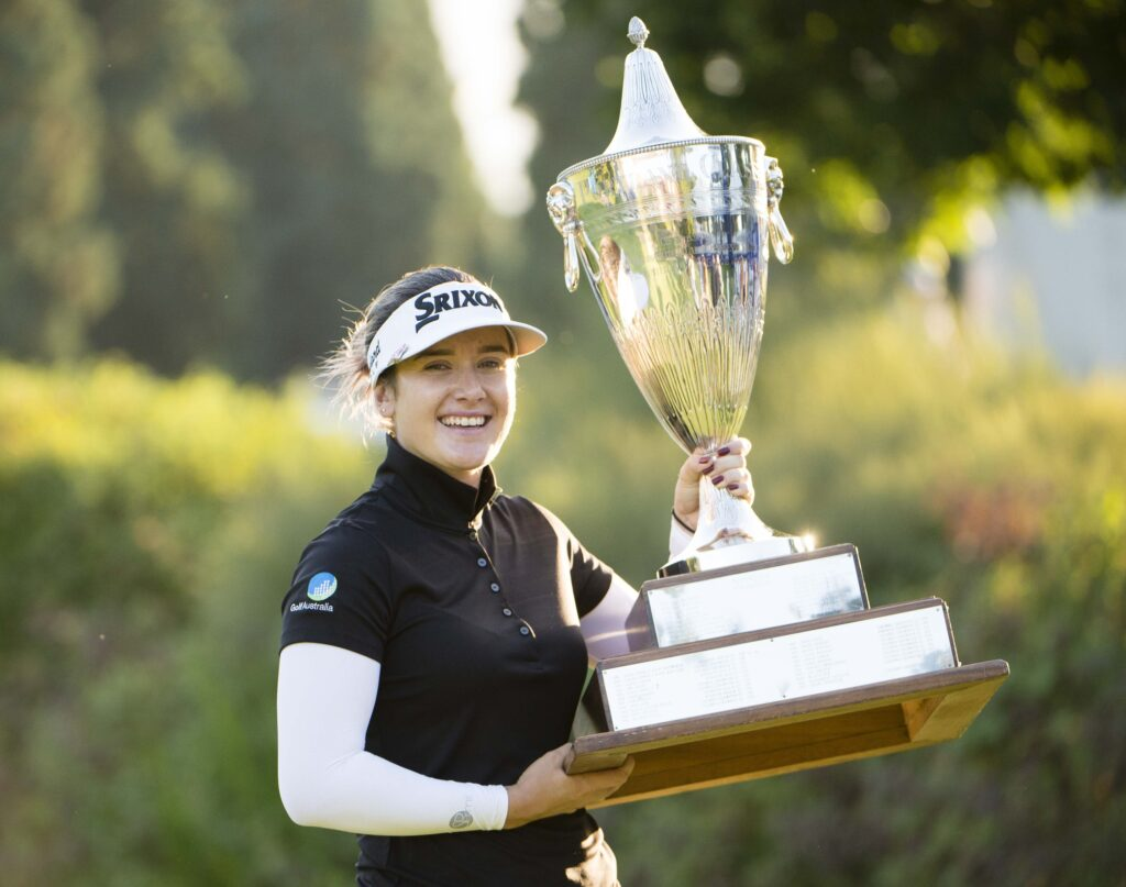 Sep 1, 2019; Portland, OR, USA; Hannah Green holds a trophy after winning the Cambia Portland Classic at Columbia Edgewater Country Club. Mandatory Credit: Troy Wayrynen-USA TODAY Sports