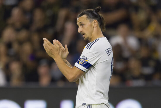 Oct 24, 2019; Los Angeles, CA, USA; Los Angeles Galaxy forward Zlatan Ibrahimovic (9) reacts during the second half against the Los Angeles FC at Banc of California Stadium. Mandatory Credit: Kelvin Kuo-USA TODAY Sports