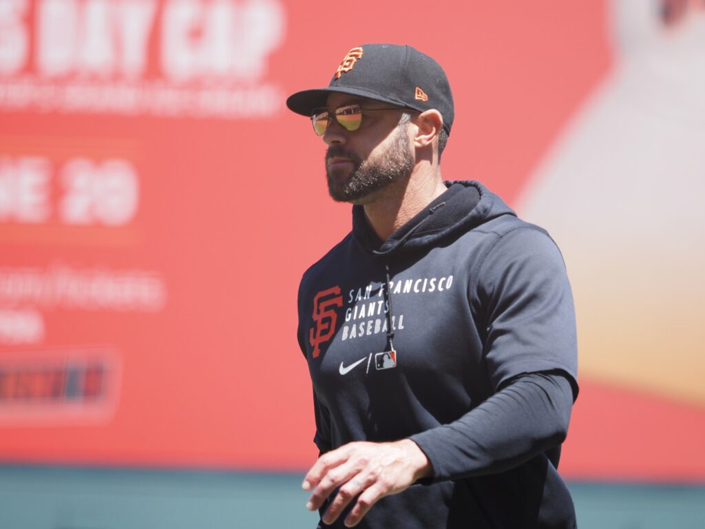 Jun 6, 2021; San Francisco, California, USA; San Francisco Giants manager Gabe Kapler returns to the dugout after replacing the pitcher against the Chicago Cubs during the fifth inning at Oracle Park. Mandatory Credit: Kelley L Cox-USA TODAY Sports