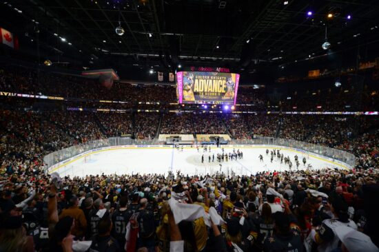 Jun 10, 2021; Las Vegas, Nevada, USA; General view of capacity crowd as the Vegas Golden Knights celebrate the 6-3 victory against the Colorado Avalanche following game six of the second round of the 2021 Stanley Cup Playoffs at T-Mobile Arena. Mandatory Credit: Gary A. Vasquez-USA TODAY Sports