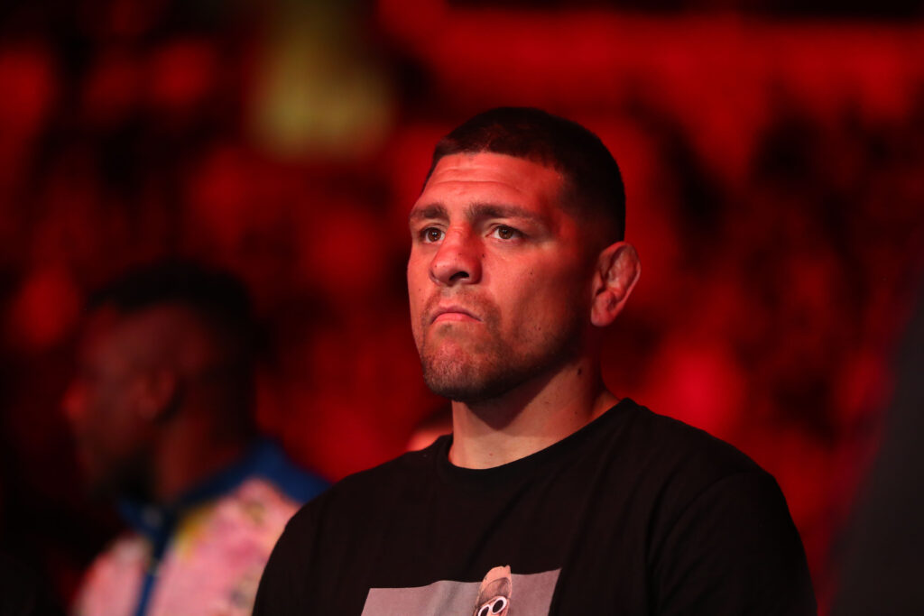 Jun 12, 2021; Glendale, Arizona, USA; Nick Diaz brother of Nate Diaz in attendance during UFC 263 at Gila River Arena. Mandatory Credit: Mark J. Rebilas-USA TODAY Sports