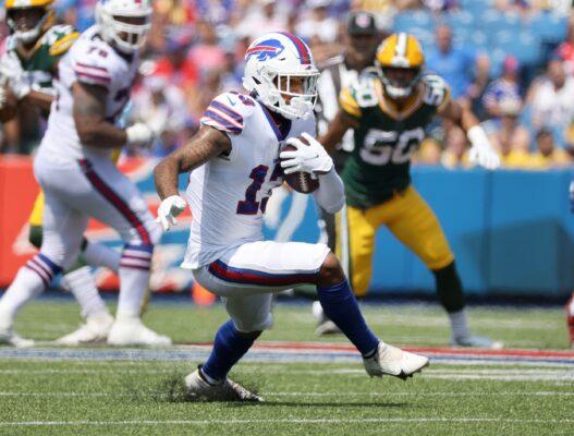 Bills receiver Gabe Davis looking for extra yards after a catch.Jg 082821 Bills 6