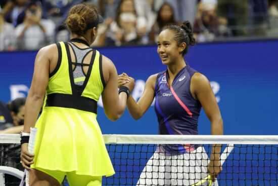 Sep 3, 2021; Flushing, NY, USA; Leylah Annie Fernandez of Canada (R) shakes hands with Naomi Osaka of Japan (L) after their match on day five of the 2021 U.S. Open tennis tournament at USTA Billie Jean King National Tennis Center. Mandatory Credit: Geoff Burke-USA TODAY Sports