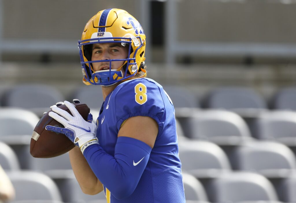 Sep 4, 2021; Pittsburgh, Pennsylvania, USA;  Pittsburgh Panthers quarterback Kenny Pickett (8) warms up before playing the Massachusetts Minutemen at Heinz Field. Mandatory Credit: Charles LeClaire-USA TODAY Sports