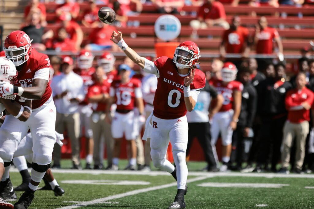 Sep 4, 2021; Piscataway, New Jersey, USA; Rutgers Scarlet Knights quarterback Noah Vedral (0) throws the ball against the Temple Owls during the second half at SHI Stadium. Mandatory Credit: Vincent Carchietta-USA TODAY Sports