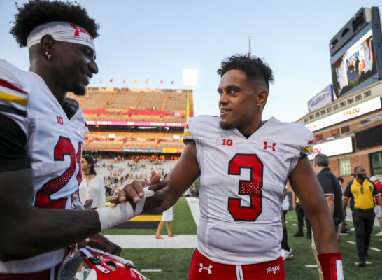Sep 4, 2021; College Park, Maryland, USA; Maryland Terrapins quarterback Taulia Tagovailoa (3) celebrates with Maryland Terrapins wide receiver Darryl Jones (21) after defeating the West Virginia Mountaineers at Capital One Field at Maryland Stadium. Mandatory Credit: Ben Queen-USA TODAY Sports
