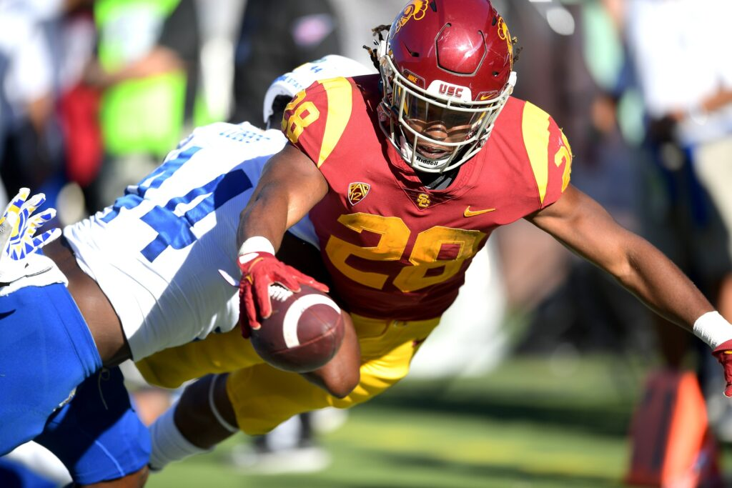 Sep 4, 2021; Los Angeles, California, USA;  USC Trojans running back Keaontay Ingram (28) runs short of the goal line in the second half of the game against the San Jose State Spartans at United Airlines Field at Los Angeles Memorial Coliseum. Mandatory Credit: Jayne Kamin-Oncea-USA TODAY Sports