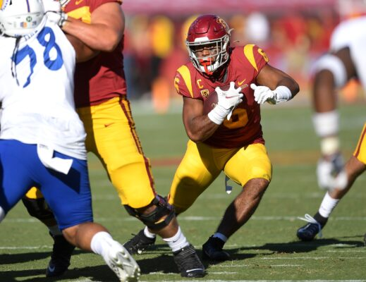 Sep 4, 2021; Los Angeles, California, USA;  USC Trojans running back Vavae Malepeai (6) carries for a short gain in the second half of the game against the San Jose State Spartans at United Airlines Field at Los Angeles Memorial Coliseum. Mandatory Credit: Jayne Kamin-Oncea-USA TODAY Sports