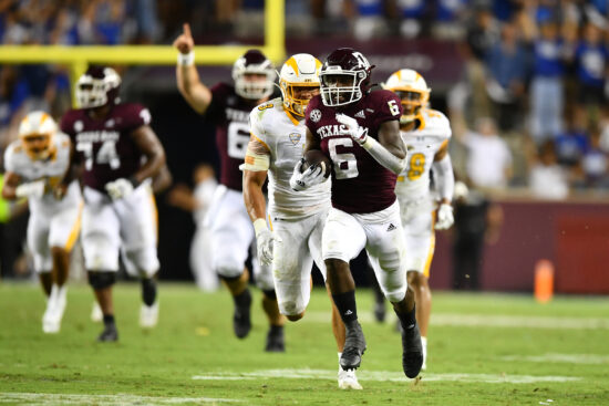 Sep 4, 2021;  College Station, Texas, USA;  Texas A&M Aggies wide receiver Jalen Preston (5) runs the ball during the third quarter against the Kent State Golden Flashes at Kyle Field. Mandatory Credit: Maria Lysaker-USA TODAY Sports