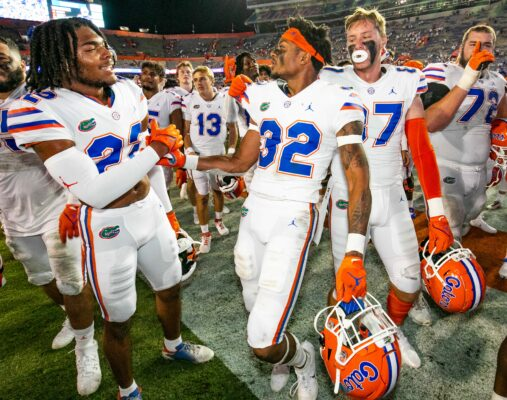 Florida Gators safety Rashad Torrence II (22) and Florida Gators safety Mordecai McDaniel (32) celebrates with teammates near the students section after the Florida Gators defeated the Florida Atlantic Owls 35-14 Saturday night, September 4, 2021 in Gainesville, FL. at Ben Hill Griffin Stadium. [Doug Engle/Ocala Star Banner]2021Flgai Ufvsfau 090421