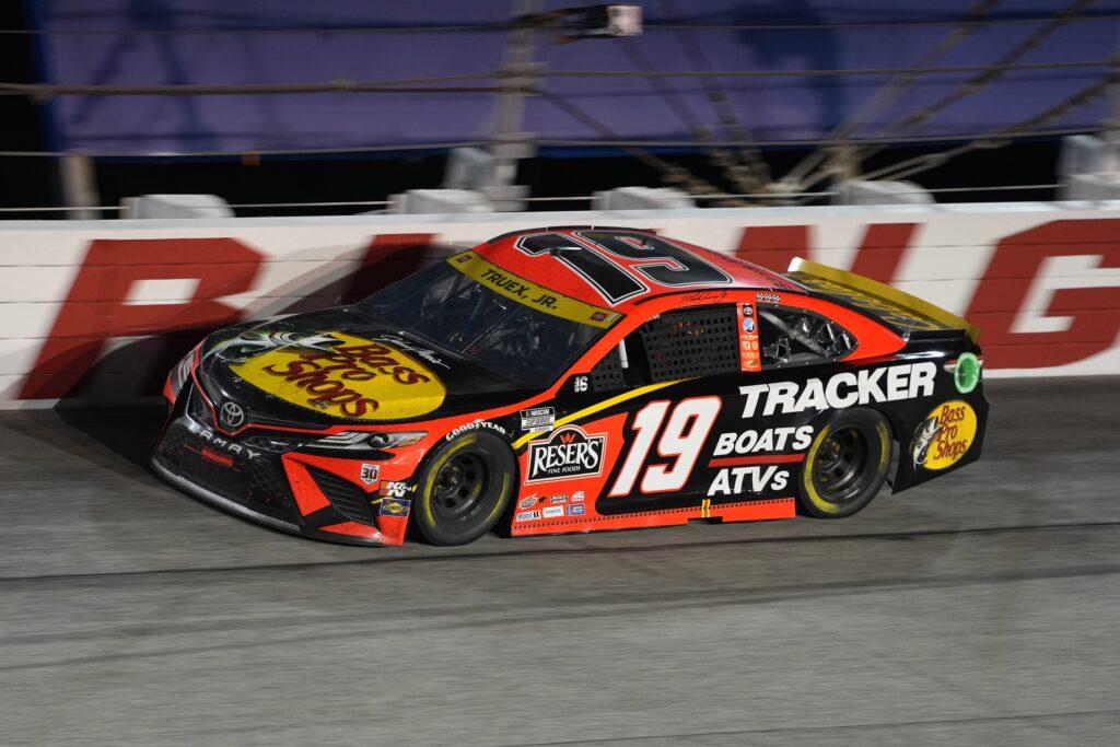 Sep 5, 2021; Darlington, South Carolina, USA; NASCAR Cup Series driver Martin Truex Jr. (19) races during the Cook Out Southern 500 at Darlington Raceway. Mandatory Credit: Jasen Vinlove-USA TODAY Sports