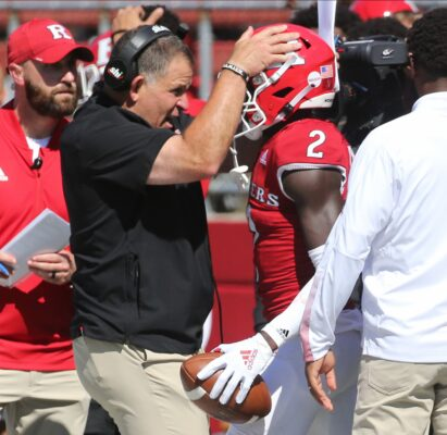Greg Schiano with Aron Cruickshank of Rutgers in the fourth quarter as Rutgers crushed Temple 61-14 in their season opener at SHI Stadium in Piscataway, NJ on September 4, 2021.Rutgers Crushed Temple 64 14 In Their Season Opener At Shi Stadium In Piscataway Nj On September 4 2021