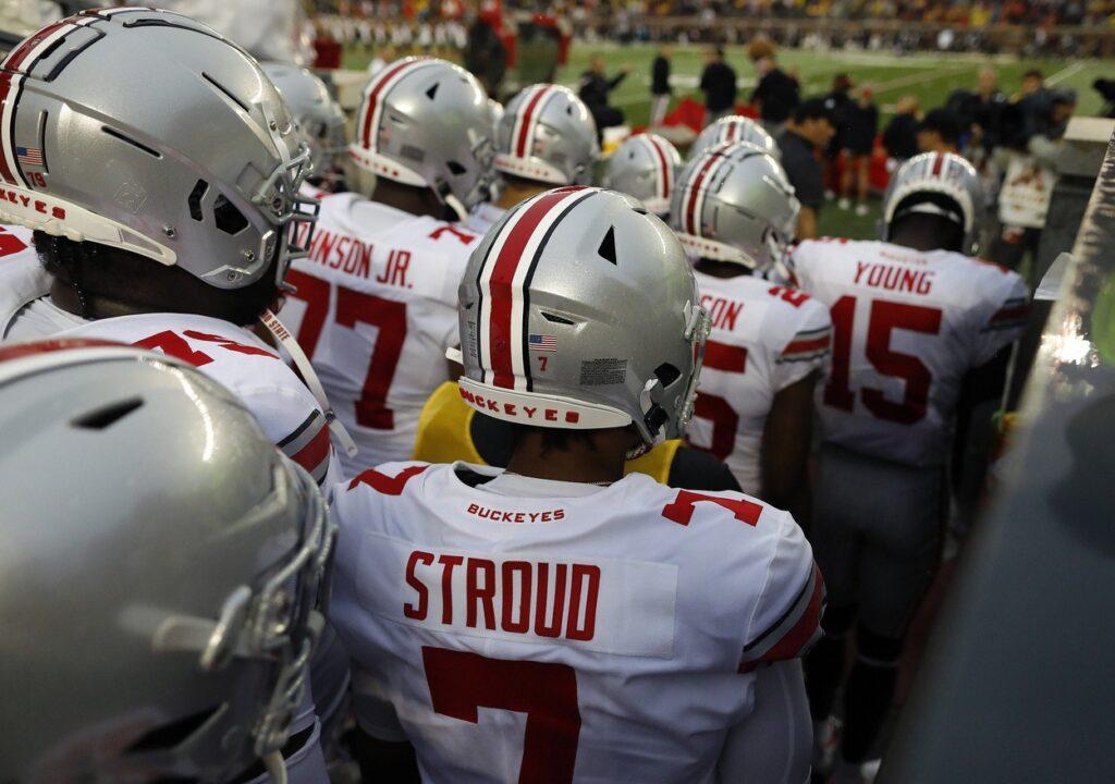 Ohio State Buckeyes quarterback C.J. Stroud (7) gets ready to take the field to take on Minnesota Golden Gophers in Huntington Bank Stadium at University of Minnesota in Minneapolis, MN on September 2, 2021.  Ceb Osu21min Kwr 62
