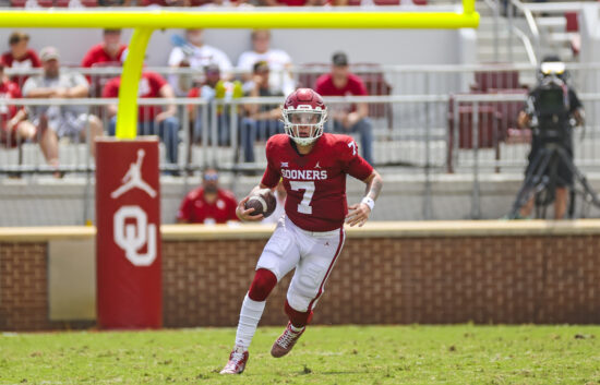 Sep 4, 2021; Norman, Oklahoma, USA; Oklahoma Sooners quarterback Spencer Rattler (7) in action during the game against the Tulane Green Wave at Gaylord Family-Oklahoma Memorial Stadium. Mandatory Credit: Kevin Jairaj-USA TODAY Sports