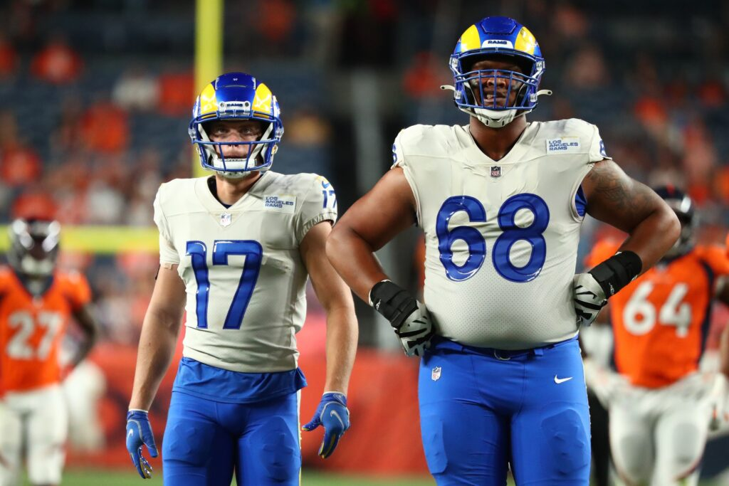 Aug 28, 2021; Denver, Colorado, USA; Los Angeles Rams wide receiver J.J. Koski (17) and Los Angeles Rams offensive tackle Alaric Jackson (68) look on against the Denver Broncos during the fourth quarter at Empower Field at Mile High. Mandatory Credit: C. Morgan Engel-USA TODAY Sports