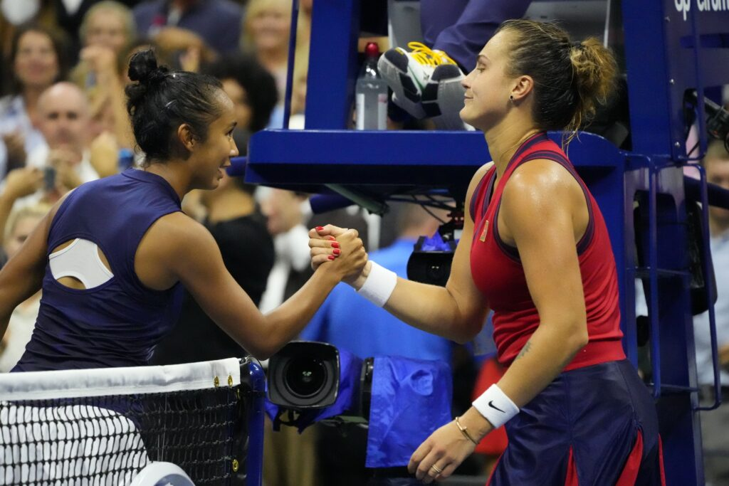Sep 9, 2021; Flushing, NY, USA; Leylah Fernandez of Canada (L) shakes hands with Aryna Sabalenka of Belarus (R) after their match on day eleven of the 2021 U.S. Open tennis tournament at USTA Billie Jean King National Tennis Center. Mandatory Credit: Robert Deutsch-USA TODAY Sports