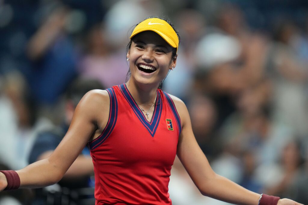 Sep 9, 2021; Flushing, NY, USA; Emma Raducanu of Great Britain celebrates after match point against Maria Sakkari of Greece (not pictured) on day eleven of the 2021 U.S. Open tennis tournament at USTA Billie Jean King National Tennis Center. Mandatory Credit: Danielle Parhizkaran-USA TODAY Sports