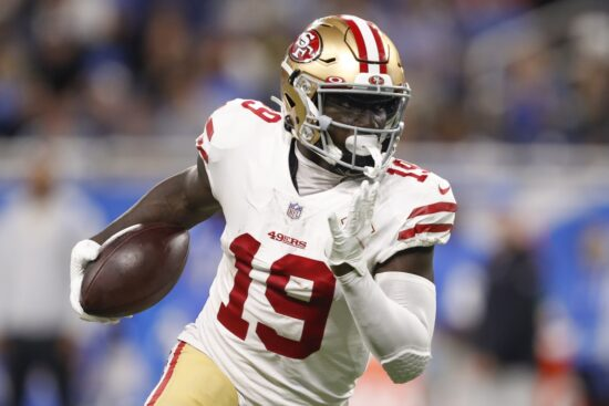 Sep 12, 2021; Detroit, Michigan, USA; San Francisco 49ers wide receiver Deebo Samuel (19) runs with the ball during the second quarter against the Detroit Lions at Ford Field. Mandatory Credit: Raj Mehta-USA TODAY Sports