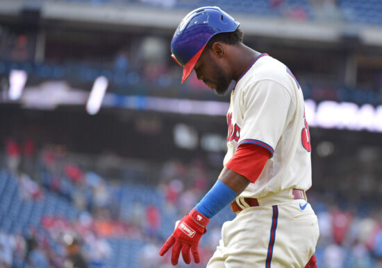 Sep 12, 2021; Philadelphia, Pennsylvania, USA; Philadelphia Phillies center fielder Odubel Herrera (37) walks off the field after making the final out during the ninth inning of loss to the Colorado Rockies  at Citizens Bank Park. Mandatory Credit: Eric Hartline-USA TODAY Sports