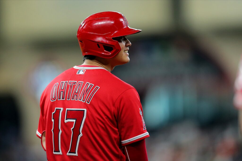 Sep 12, 2021; Houston, Texas, USA; Los Angeles Angels designated hitter Shohei Ohtani (17) during a break in the action against the Houston Astros during the eighth inning at Minute Maid Park. Mandatory Credit: Erik Williams-USA TODAY Sports