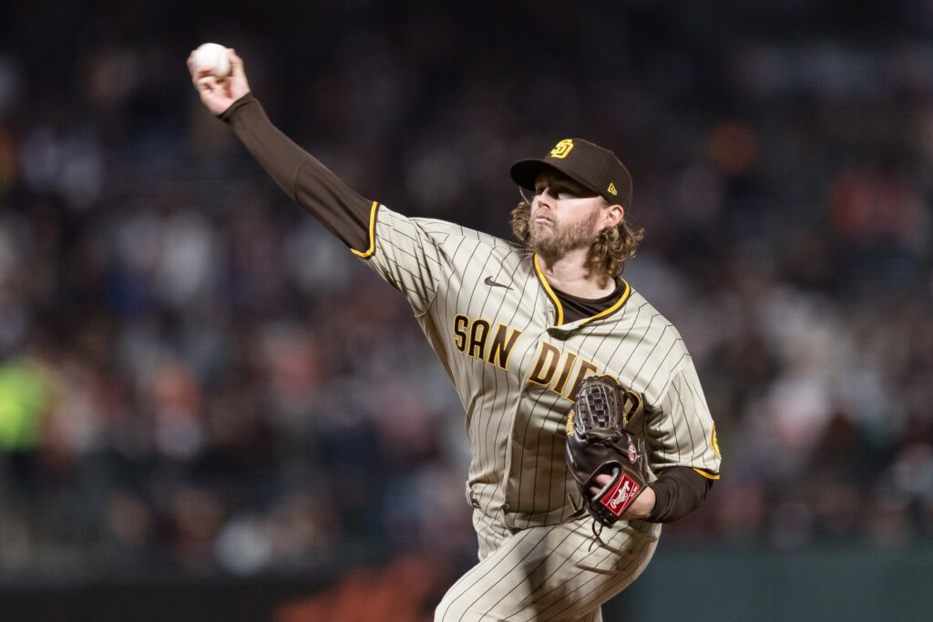 Sep 14, 2021; San Francisco, California, USA;  San Diego Padres relief pitcher Pierce Johnson (36) throws against the San Francisco Giants in the sixth inning at Oracle Park. Mandatory Credit: John Hefti-USA TODAY Sports