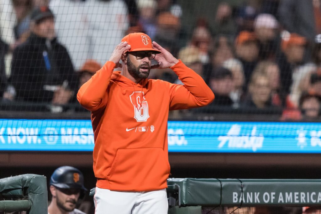 Sep 14, 2021; San Francisco, California, USA; San Francisco Giants manager Gabe Kapler (19) reacts after an argument with an umpire in the eighth inning against the San Diego Padres at Oracle Park. Mandatory Credit: John Hefti-USA TODAY Sports