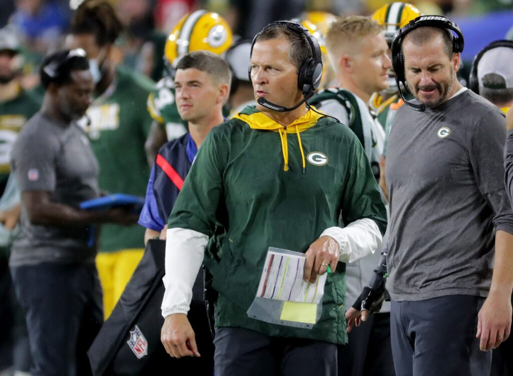 Green Bay Packers defensive coordinator Joe Barry is shown during the fourth quarter of their game Monday, September 20, 2021 at Lambeau Field in Green Bay, Wis. The Green Bay Packers beat the Detroit Lions 35-17.  Packers21 22