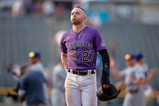 Sep 23, 2021; Denver, Colorado, USA; Colorado Rockies shortstop Trevor Story (27) reacts after the game against the Los Angeles Dodgers at Coors Field. Mandatory Credit: Isaiah J. Downing-USA TODAY Sports