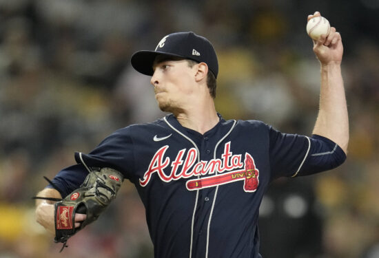 Sep 24, 2021; San Diego, California, USA;  Atlanta Braves starting pitcher Max Fried (54) pitches against the San Diego Padres during the second inning at Petco Park. Mandatory Credit: Ray Acevedo-USA TODAY Sports