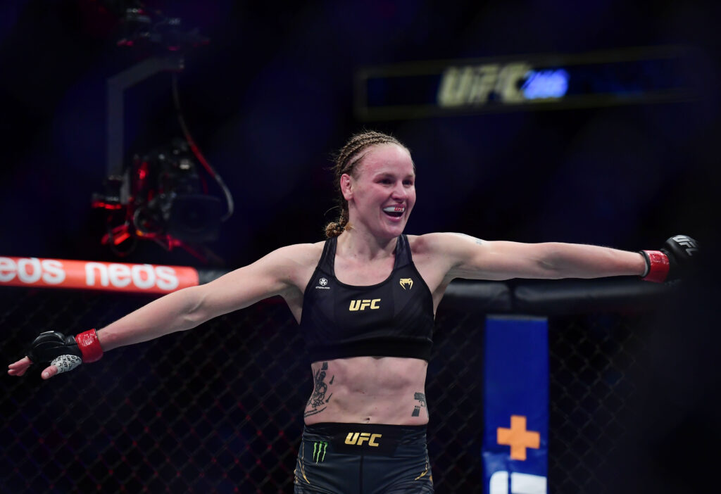 Sep 25, 2021; Las Vegas, Nevada, USA; Valentina Shevchenko celebrates her TKO victory against Lauren Murphy during UFC 266 at T-Mobile Arena. Mandatory Credit: Gary A. Vasquez-USA TODAY Sports