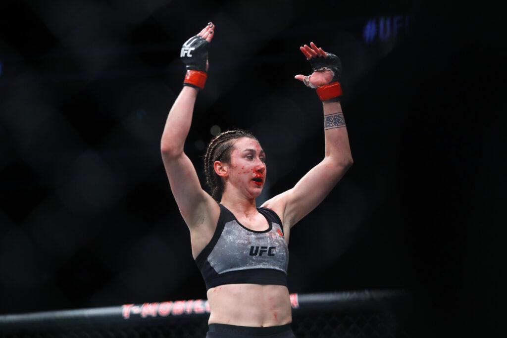January 18, 2020; Las Vegas, Nevada, USA; Sabina Mazo during UFC 246 at T-Mobile Arena. Mandatory Credit: Mark J. Rebilas-USA TODAY Sports