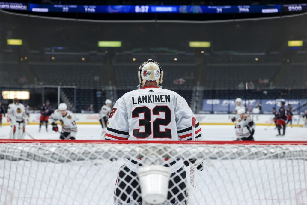 Apr 10, 2021; Columbus, Ohio, USA; Chicago Blackhawks goaltender Kevin Lankinen (32) stands in net during warmups prior to the game against the Columbus Blue Jackets at Nationwide Arena. Mandatory Credit: Aaron Doster-USA TODAY Sports