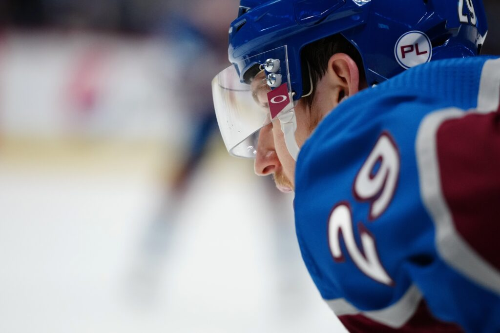 Jun 2, 2021; Denver, Colorado, USA; Colorado Avalanche center Nathan MacKinnon (29) during the first period against the Vegas Golden Knights in game two of the second round of the 2021 Stanley Cup Playoffs at Ball Arena. Mandatory Credit: Ron Chenoy-USA TODAY Sports