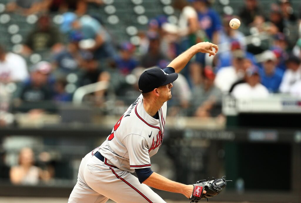 Jul 29, 2021; New York City, New York, USA; Atlanta Braves starting pitcher Drew Smyly (18) pitches against the New York Mets during the first inning at Citi Field. Mandatory Credit: Andy Marlin-USA TODAY Sports